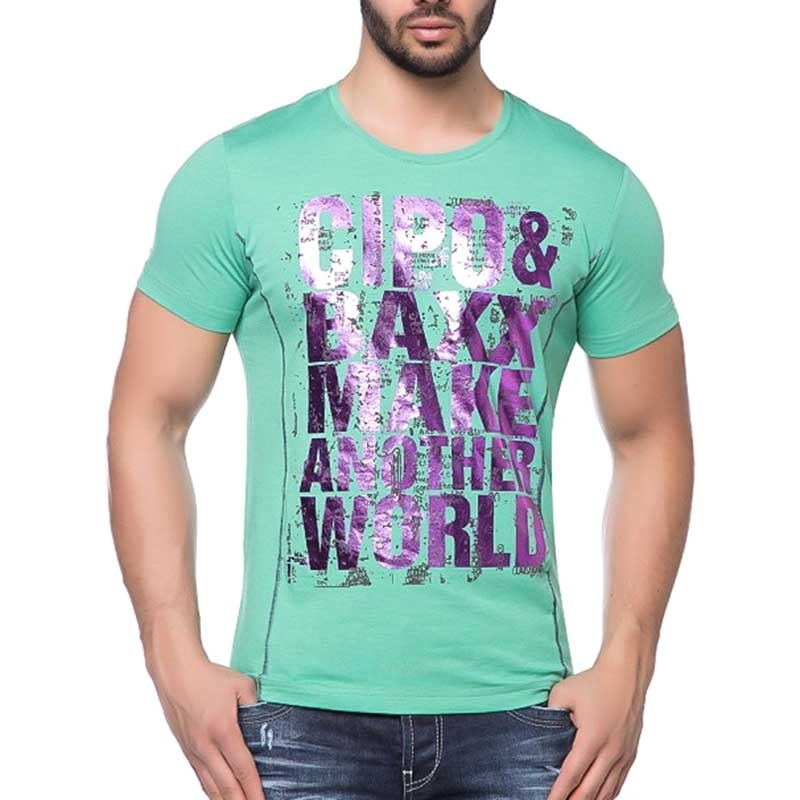 CIPO and BAXX T-SHIRT slim Fit SHINE CT101 another world green