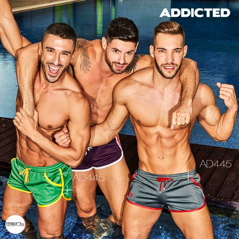 Addicted fitness or soccer shorts for man in yellow, black, green or red AD445
