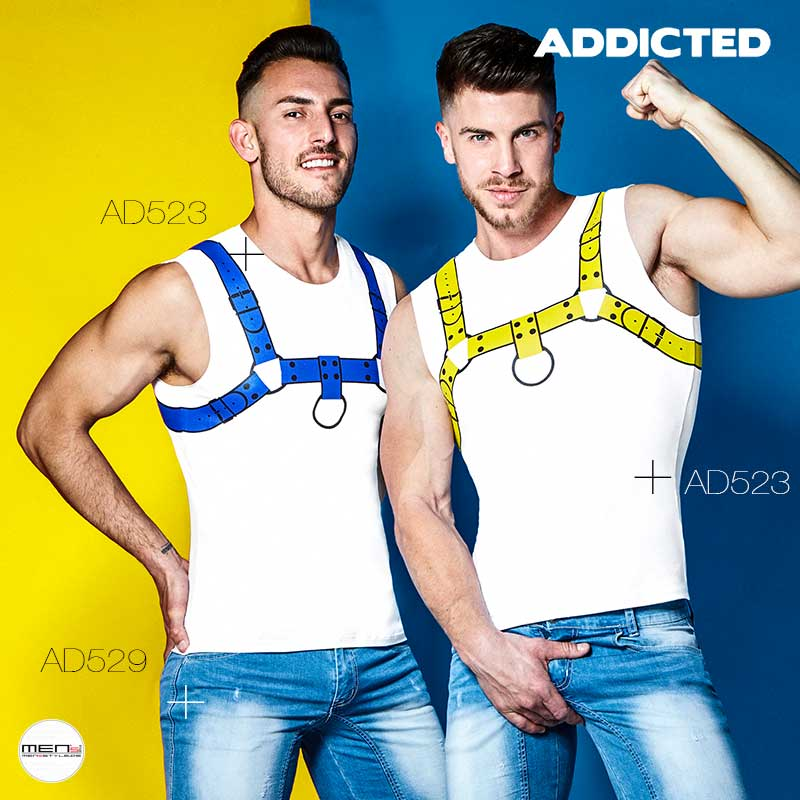 Addicted Mens T-Shirts Tanks with harness print the matching jeans shorts in sportswear Style AD523