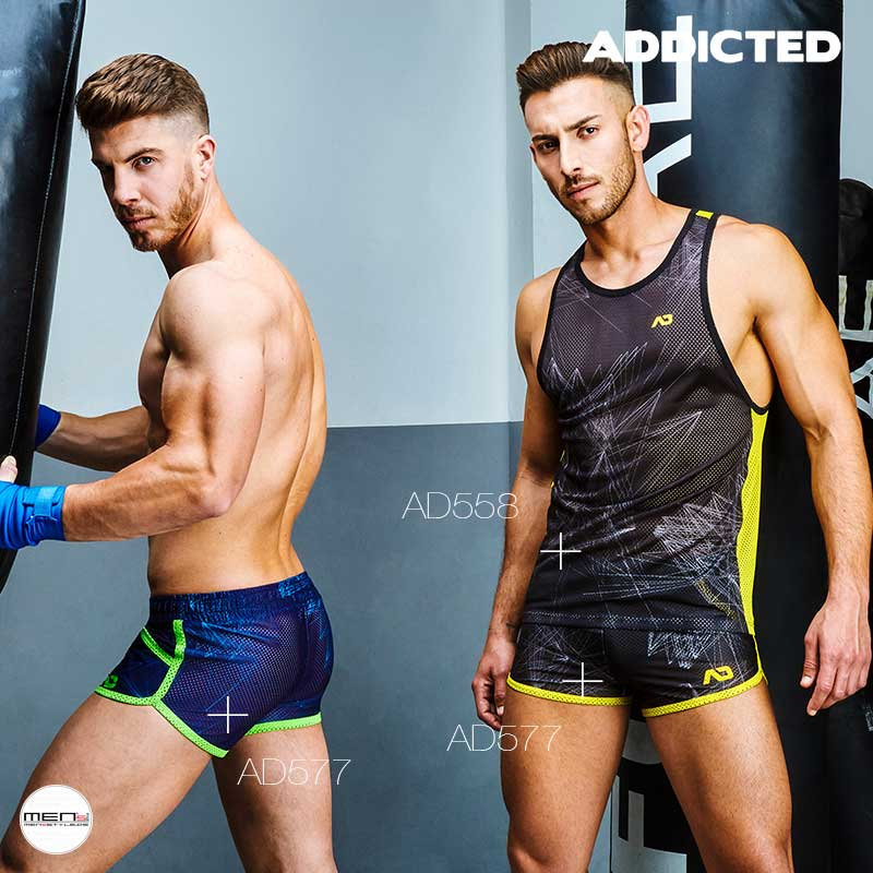 Lightweight mesh sports shorts and matching men's sports tank by AD558