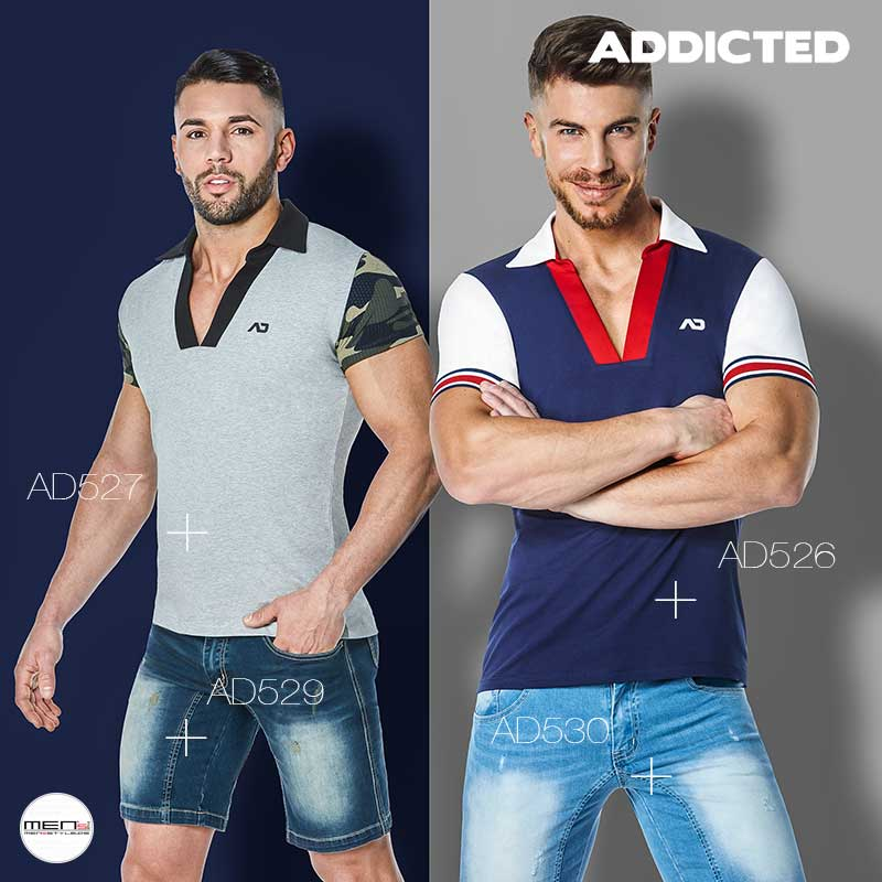Poloshirts for the sporty males with V-cutouts and camouflage pattern to a polo collar, tight, and bodyed the stretch boys in the AD526