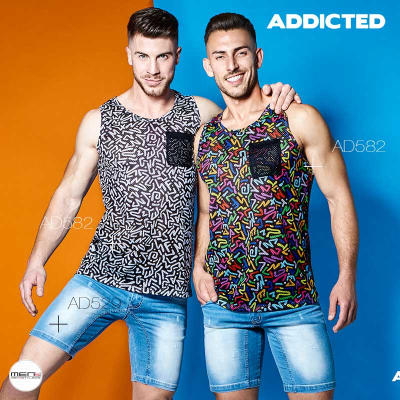Men and boys tanks in wild look. Here retro lines and polyps form, chaos print of the pointed class AD582