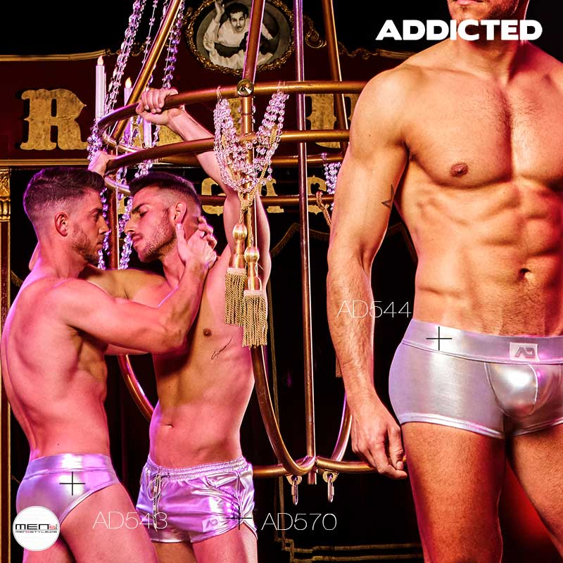 Addicted men underwear ind gold and silver as hotpants, slip and boxer shorts AD570