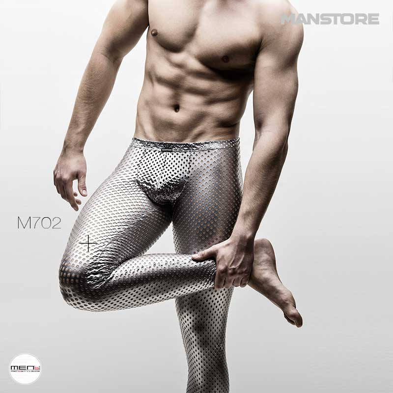 Manstore M702 in silver hole pattern as herenlegging and gentlemen's shirt. The netshirt for your fetish party and swingers club or naked parties. Hauteng laced styles in wetlook.