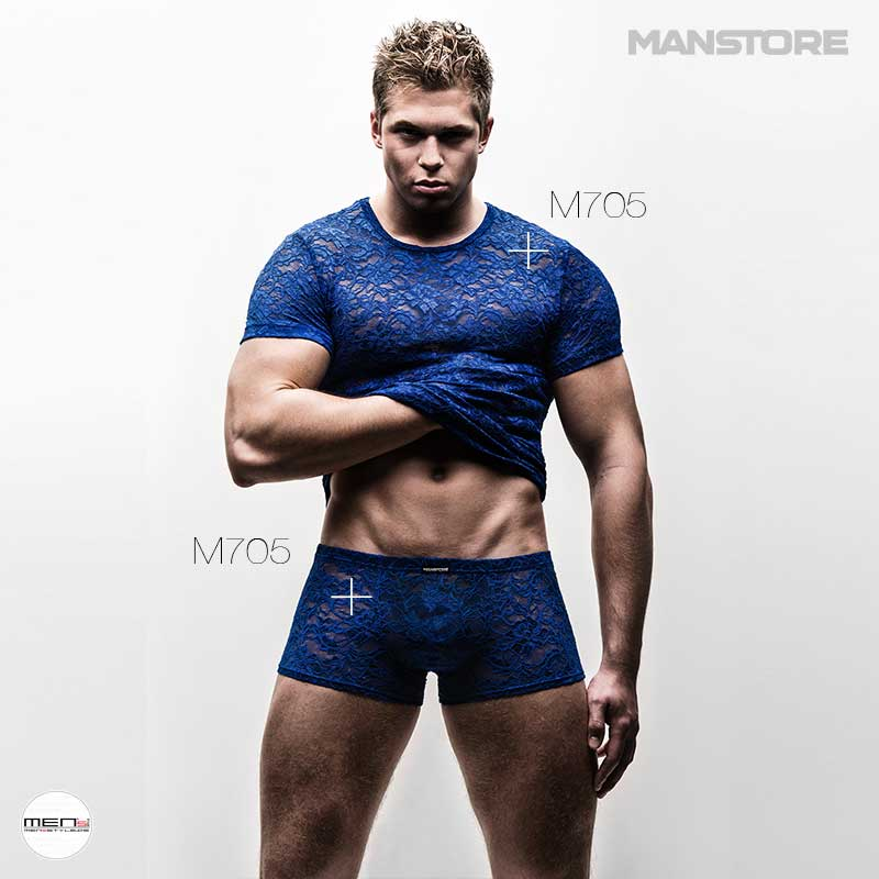 Manstore M705 series wrapped in lace. Men and boys who like to wear the lace on the shirt, pants and bodysuit for the boys with sex appeal.